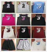 баскетбол джерси розовый оптовых-Сшитые 2019 New Style Dwyane Уэйд Джерси Розовый Синий Белый Красный Черный Цвет Dwyane 3 Wade Jerseys Баскетбол Колледжи Рубашки