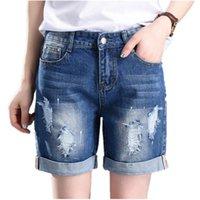 bermudas plus size mulheres venda por atacado-Novas Mulheres de Verão Grandes Bermuda Jeans Moda Casual Calça Jeans Reta Buraco Soltas Para Mulheres 55-100 Kg Plus Size 5xl Shorts Y19042601