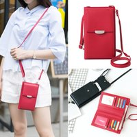 Wholesale one handed phone holder online – Ladies Women Japan Leather and Korean Style Long PU Mobile Cell Phone Bag Large Capacity Card Holder Mobile Hand Bag One Shoulder Diagonal