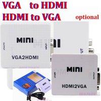 projetor conversor portátil venda por atacado-Mini HDMI para VGA para HDMI Conversor Com Áudio HDMI2VGA VGA2HDMI 1080P Adapter Connector Box para PC Portátil para HDTV Projetor