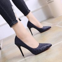 Wholesale korean high heel pumps for sale - Group buy New Super High heeled Female Korean Single Shoes Female Sense Fine heeled Working Shoes Night Shop Shallow mouthed Female Shoes