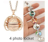 Wholesale photo album gift boxes for sale - Group buy Foldable Magic Photo Pendant Memory Floating Locket Necklace Plated Angel Wings Flash Box Fashion Album Box Necklaces for Women