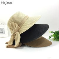 Wholesale korean girl style hat for sale - Group buy Sun Hats Women Trendy Simple Bow Lovely All match Korean Style Daily Summer Casual Solid Straw Womens Female Girls Sweet Hat New