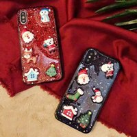 Wholesale santa claus glitter for sale - 2019 New Popular Christmas Glitter Bling Case D Epoxy TPU Back Cover Cute Santa Claus Elk Shockproof for iPhone X XS MAX XR
