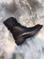 ingrosso tacco piatto merletti in su stivali-saldi 2019 ANN DEMEULEMEESTER designer tacco piatto vera pelle migliori scarpe di alta qualità donna sneaker Stringate alla caviglia Stivaletti alla caviglia
