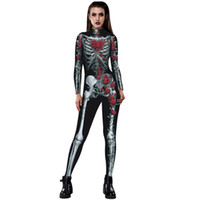 Wholesale rose clothes for women for sale - Womens Rose Skeleton Movement Breathable Halloween Party Fancy Play Clothing Overalls for women Rompers women jumpsuit tracksuit