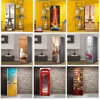 refrigerador de vinilo al por mayor-DIY Paris Tower Patrón Decorativo Autoadhesivo Vinilo Refrigerador Puerta Pegatinas Mural Para Cocina Nevera Decoración Para El Hogar Moderno