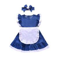 cinderella bows 도매-여자 아이들은 패치 워크 컬러 팔발라 플라이 슬리브 신데렐라 드레스 + 리본 머리띠 2pcs 세트 어린이 코스프레 파티 드레스 F7030을 드레스