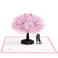 ingrosso biglietti augurali di anniversario fatti a mano-Biglietto di auguri di ciliegie orientali 3D Elegante compleanno romantico stereoscopico Festival Anniversario a mano