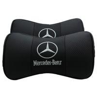 mercedes benz leder großhandel-Mercedes Benz Auto Kopfstütze Nackenschutz entlasten Fahrdruck Kissen im Auto Dekoration Leder Designer Kissen versandkostenfrei