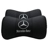 almohada reposacabezas para cuello al por mayor-Mercedes Benz Car Reposacabezas Protección para el cuello Alivie la presión de conducción Almohada dentro de la decoración del coche Diseñador de cuero almohada Envío gratis