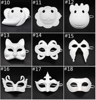 máscara crianças diy venda por atacado-Máscara Papper DIY máscara partido criativa Pintura Chirstmas Halloween Party Máscaras Crianças Mulheres Homens DIY Meia cara rosto cheio