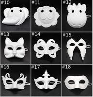 mascarillas faciales para hombres al por mayor-Papper partido de la máscara de DIY creativo de la pintura del partido de Chirstmas máscara de Halloween Máscaras mujeres de los niños de los hombres DIY de la media cara de la cara llena