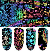 Wholesale flowers nails decoration resale online - Holographic Nail Art Transfer Stickers Rose Butterfly Fire Flower Pattern Nail Art Sticker Heat Transfer Decoration Decal set KKA6409