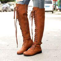 bota plana atada al por mayor-Dropshipping mujeres sobre los cargadores de la rodilla Negro PU cuero zapatos atados-Cruz botas de mujer de la cremallera con cordones planos de la hebilla XYZ273