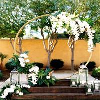 ingrosso fiore rotondo artificiale-5 dimensioni bambino festa di nozze puntelli arredamento in ferro battuto anello arco sfondo arco rotondo prato fiore artificiale fila fila mensola a muro