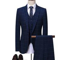 hombres de traje azul real oscuro al por mayor-OSCN7 Azul Plaid Tailor Made Trajes Hombres 3 Unidades Caballero de Boda de Negocios Por Encargo Para Hombre Traje Blazer Personalizar 7137-09