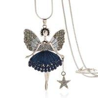 butterfly necklaces großhandel-Mode Frauen Schmuck Kristall Engelsflügel Pullover kette Lange Kette Halskette Shiny Butterfly Fairy Halskette für Mädchen Geburtstagsgeschenk