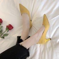 saltos de tecido amarelo venda por atacado-6,5 centímetros de malha tecido stretch Casual sapatos de salto alto Mulheres Primavera Outono Moda Pointed Toe Mulheres Bombas Preto Bege Amarelo