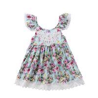 c8ed3d3976480 Yaz kızlar backless elbiseler dantel trim toptan ile bebek giyim küçük  çiçek baskı çarpıntı kollu spagetti kayışı elbise BY0956