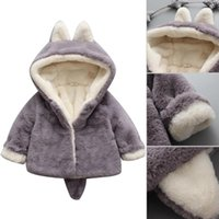 симпатичные зимние пальто девочки оптовых-Baby Girls 2019 Winter Warm Coats Cute  Fleece Coat Fake Fur Warm Hooded Jacket Outwear Kid Girl Tops Clothes For 6-24M