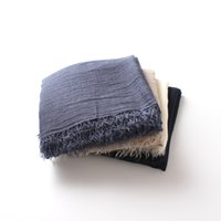 ingrosso sciarpe sottili del hijab-Sciarpe di lino in cotone pianura tinta unita donne autunno inverno rughe frange scialle sciarpa sottile avvolge fazzoletto da collo femminile hijab