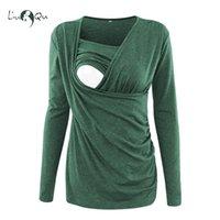 hamile kıyafetler toptan satış-Hemşirelik Hamile Kış Giysileri Tops Uzun Kollu T Gömlek Emzirme Üst Gebelik Giysileri Kadın Bluz Artı Boyutu Yeşil Pembe