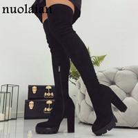 über knie-oberschenkel stiefel großhandel-11CM Platform Schuhe Stiefel Frau über Knie-Winterstiefel Damen schwarz Kunstwildleder Schuhe Schenkel-hohe Stiefel-Dame-Schnee-Pelz-Schuh