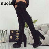 siyah topuk topuk ayakkabıları toptan satış-11cm Platformu Topuklar Boots Kadın Diz Kış Boot Kadın Siyah Sahte Süet Deri Ayakkabı Uyluk Yüksek Boots Lady Kar Kürk Ayakkabı Üzeri