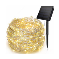 Wholesale holiday lighting resale online - 5M10M M Solar Copper Wire String Light LED Fairy Lights Waterproof Solar Home Yard Christmas Holiday Garden Decoration