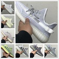 zapatos de rayas de cebra al por mayor-2019 New Kange West Static Butter Sesame Beluga 2.0 Cream White Zebra Bred Stripe Hombres Mujeres Zapatos para correr