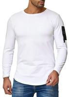 harajuku sokak giyim toptan satış-Erkek Sonbahar Yeni T Shirt Uzun Kollu Sokak Moda Harajuku O-Boyun Elbise Tops