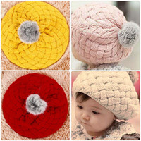 Wholesale baby balls photos online - Winter Warm Baby Hat Soft Crochet Knitted Beanie Caps Cute Rabbit Faux Fur Gorros Infant Toddler Beret Hats Ball Cap Photo Props