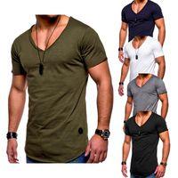 verde do exército camiseta venda por atacado-Camiseta Homens Hip Hop Mens Camisas de Moda Mens Manga Curta Verão T-Shirt de Algodão Sólido Preto Exército Verde Tee Casual Tops