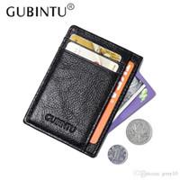 Wholesale gubintu wallets resale online - GUBINTU Brand Slim Man Genuine Cowhide Leather Male Credit Card Holders Thin Money Dollar Clip Wallet Purse ID Pocket for Men