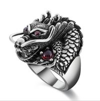Wholesale thin ring china for sale - Group buy 2019 Real Sterling Silver Ring Thai Silver Powerful Dragon for Men Ring Jewelry Vintage Mens Rings Fine Jewelry