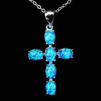 cruz pendente opala venda por atacado-Cool Christian Cross Design Branco / Azul Colar De Pingente De Opala De Fogo