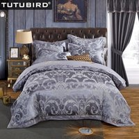 ingrosso biancheria da letto della queen blu-TUTUBIRD-Biancheria da letto in seta raso jacquard oro rosso viola rosa blu set biancheria da letto matrimoniale queen size lenzuola copripiumino