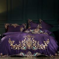 Wholesale purple egyptian cotton bedding resale online - Purple Blue Red S Egyptian Cotton Luxury European Gold Embroidery Wedding Bedding Set Duvet Cover Bed Sheet Linen Pillowcases