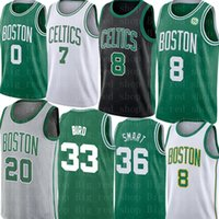 36 jersey venda por atacado-Kemba Walker 8 Jersey NCAA Larry 33 Pássaro Jayson 0 Tatum Jaylen 7 Brown Gordon Hayward 20 Marcus 36 Jerseys inteligentes