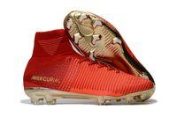 ingrosso stivali bambini d'oro-2019 Original Red Gold Tacchetti da calcio per bambini Mercurial Superfly CR7 Kids Soccer Shoes alti Caviglia da calcio Cristiano Ronaldo Womens