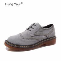 ingrosso zapatos oxford donne-Hung Yau Brogue Oxford Scarpe Donna Appartamenti Donna Scarpe In Vera Pelle sapatos femininos sapatilhas zapatos mujer Plus Size 43