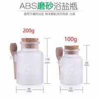ahşap mantar şişeleri toptan satış-ABS Yuvarlak Banyo Tuzu Şişeleri ile 100g 200g Toz Plastik Kaplar Mantar Kavanoz ile Ahşap Kaşık Ambalaj Şişe 100 adet / grup