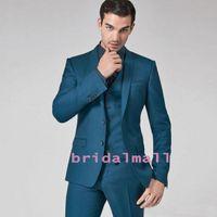 harris tıraş ince sığdır ceketi toptan satış-Teal Erkek Slim Fit Groomsmen Düğün Smokin Üç Parçalı Damat Takım Elbise Iş Doruğa Yaka Ünlü Örgün Blazers (Ceket + Yelek + Pantolon)
