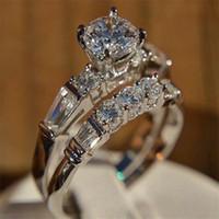 conjunto de anillos de boda de circón al por mayor-Oro blanco color estupendo circón señora Rings nuevo de la manera de boda anillo de compromiso regalos determinados joyería para las mujeres 2pcs SJ circón anillo Claro