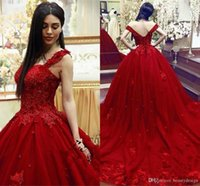 Wholesale floral quinceanera dresses for sale - Group buy Red Sweet Quinceanera Dress Ball Gown Lace D Floral Appliques Beaded Masquerade Puffy Long Prom Evening Formal Wear Vestidos
