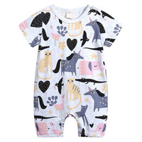 ingrosso cappotti da bambino coverall-Cartoon Animal Pattern Neonate Pagliaccetto INS Hot Infant Tuta manica corta Toddler Baby Boy tuta