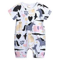 baby-overall-overalls großhandel-Cartoon Tier Muster Babyspielanzug INS Hot Infant Overall Kurzarm Kleinkind Baby Boy Overall