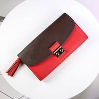 tassels bolsa de tecido venda por atacado-Mais novo Saco de cartão de carteira Padrão de lichia original com tecido presbiópico carteira de designer Delicado borla cauda pingente Cartão mudança bolsa carteira