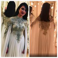 vestidos de dama de gasa abalorios al por mayor-2019 Aso Ebi árabe lujoso sexy vestidos de noche cuello alto con cuentas cristales vestidos de baile gasa fiesta formal vestidos de dama de honor vestidos ZJ36